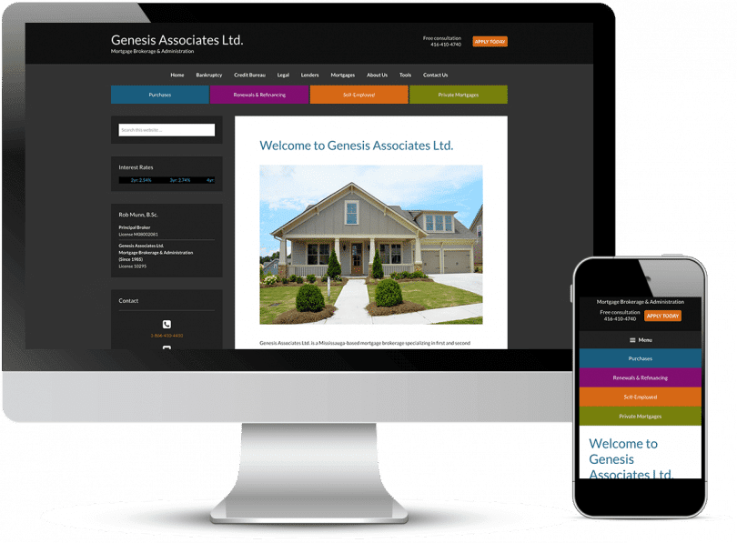 device view of the Genesis Mortgages website